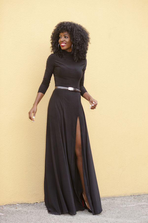 Long Sleeve with High Slit Maxi Dresses