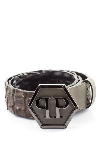 8a36c98e357 Philipp Plein | Logo Buckle Crocodile Belt Grey | Crocodile skin belt  Refined with a PP logo buckle, this belt is the perfect accessory to add  iconic ...