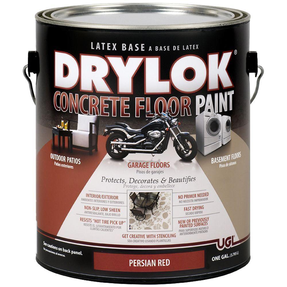 Drylok 1 Gal Persian Red Water Based Floor Paint 209104 Painted Concrete Floors Painted Floors Concrete Floors