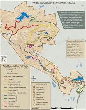 Paris Mountain State Park Map Hiking and Biking Trails at Paris Mountain State Park | places to