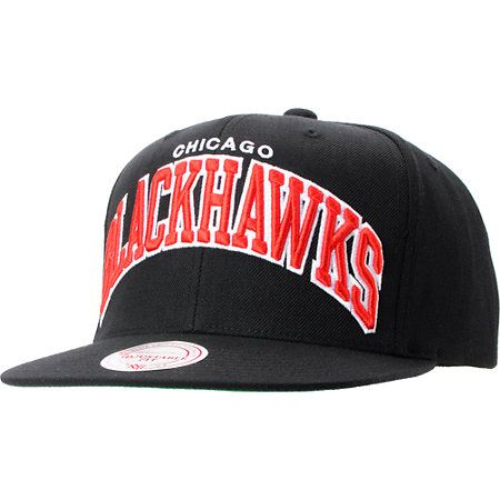 Mitchell /& Ness Chicago Blackhawks NHL Snapback Hat Cap All BLACK//BLACK