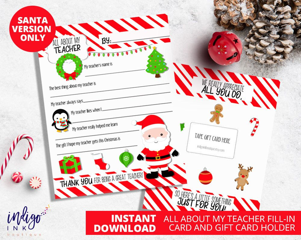 Teacher Christmas Gift | Teacher Appreciation Card For Teacher ...