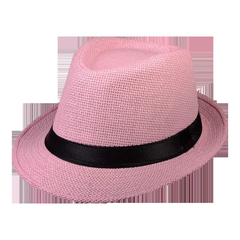 Pink Straw Fedora Gangster Hat With Black Band Straw Fedora Fedora Hats