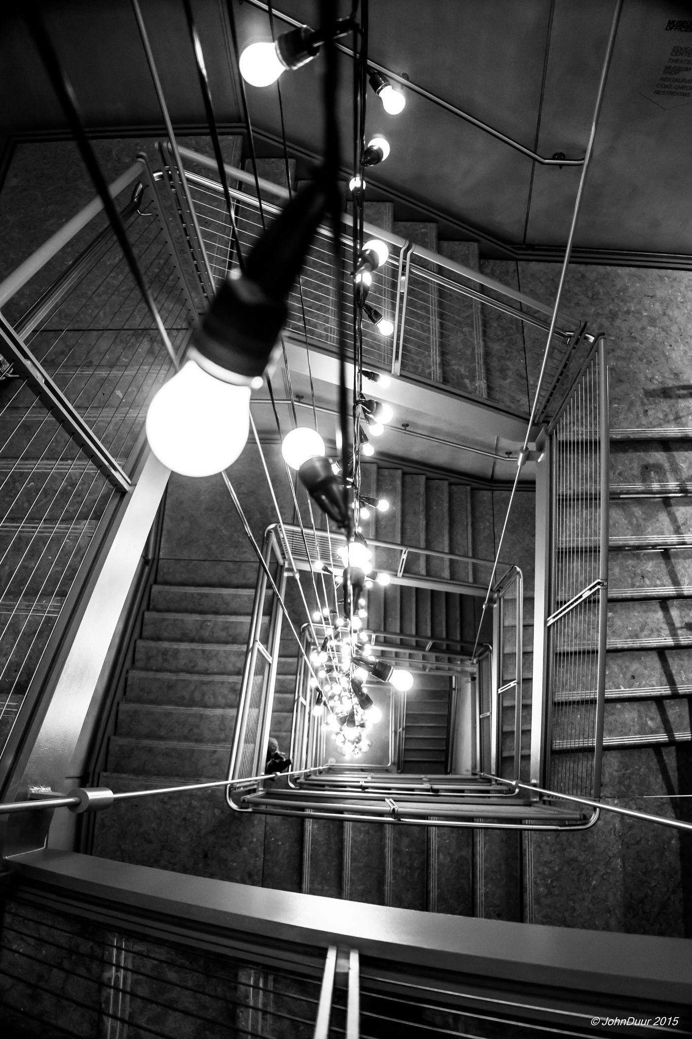 Light Bulbs In Staircase Of Whitney Museum. John
