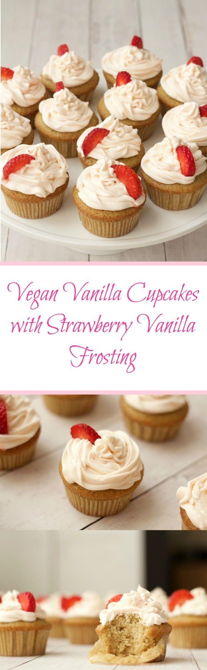 Vegan Vanilla Cupcakes With Strawberry Vanilla Frosting Vegan Lovingitvegan Vanilla Cupcakes De Vegan Vanilla Cupcakes Easy Vanilla Cupcakes Clean Dessert