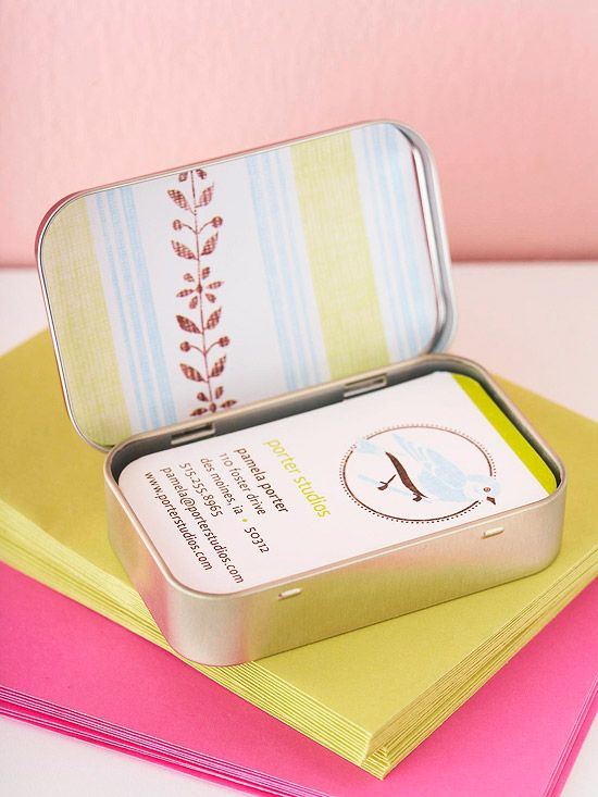 How to's : Business Card Holder  Here's a fresh idea for a leftover mint container. Cover the outside and inside of the lid with decorative paper and fill it with your business cards. Embellish a second container to store the cards you receive.