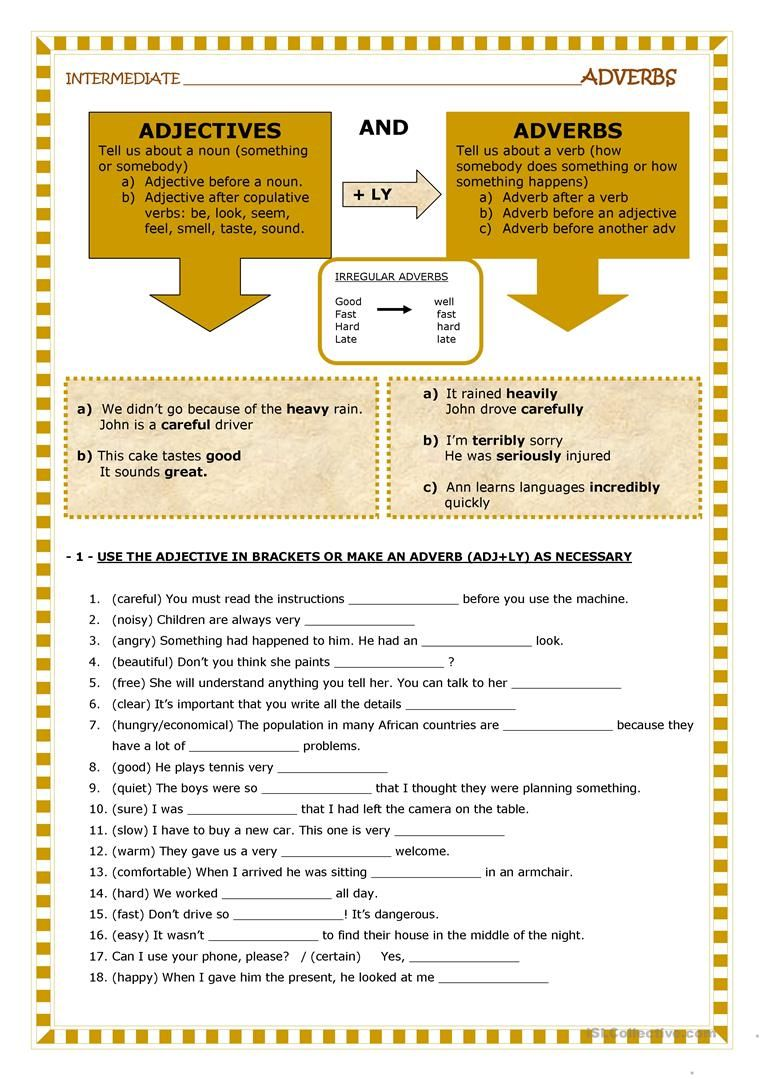 Adjectives and adverbs worksheet - Free ESL printable worksheets