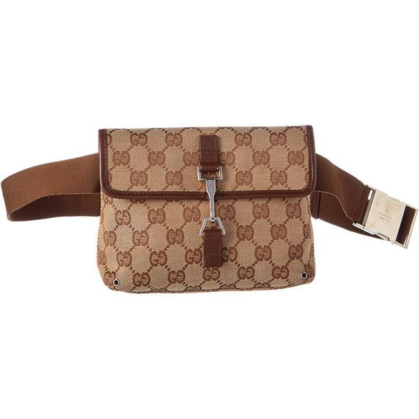 dc99ea45e45 Gucci Brown Gg Supreme Canvas   Leather Belt Bag ( 500) ❤ liked on Polyvore  featuring bags