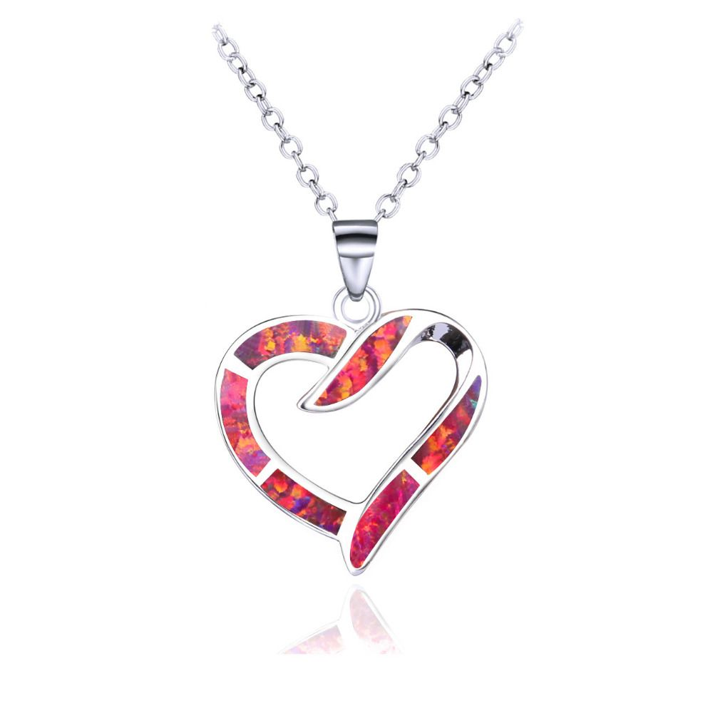 Classic jewelry red blue opal heart shape love pendants hollow out