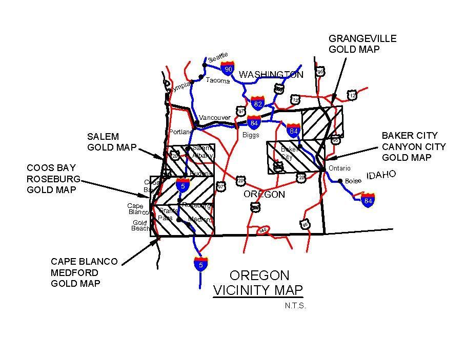 Gold In Oregon Map.Oregon Gold Maps Oregon Gold Panning Oregon Gold Placers Oregon