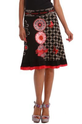 Desigual women's Oia skirt, with mandala-shaped satin patches on the front. It's one of our favorite skirts.