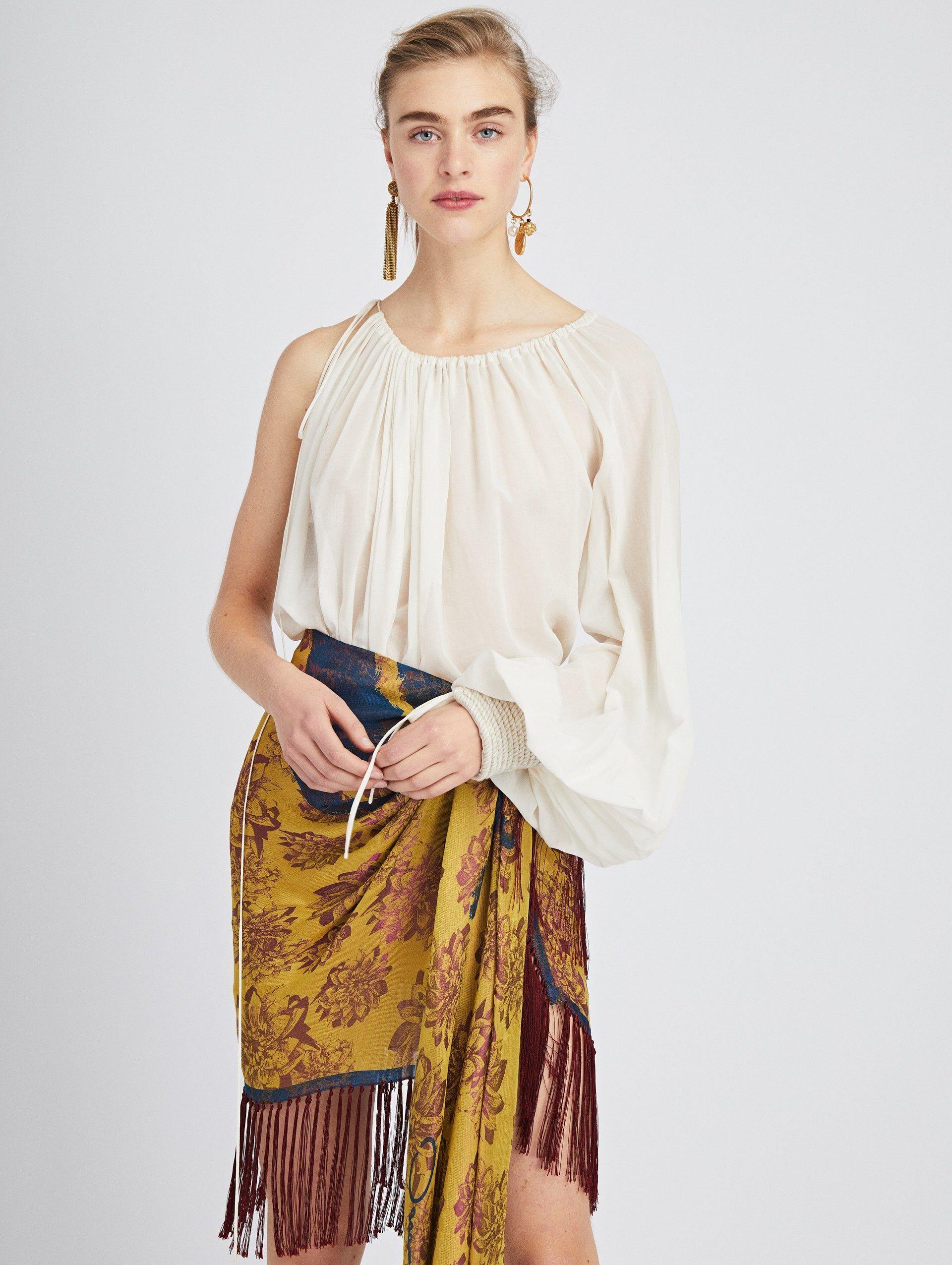 a1880c4e685816 One-Shoulder Cotton-Voile Blouse in 2019 | Fashion | Cotton, Blouse ...