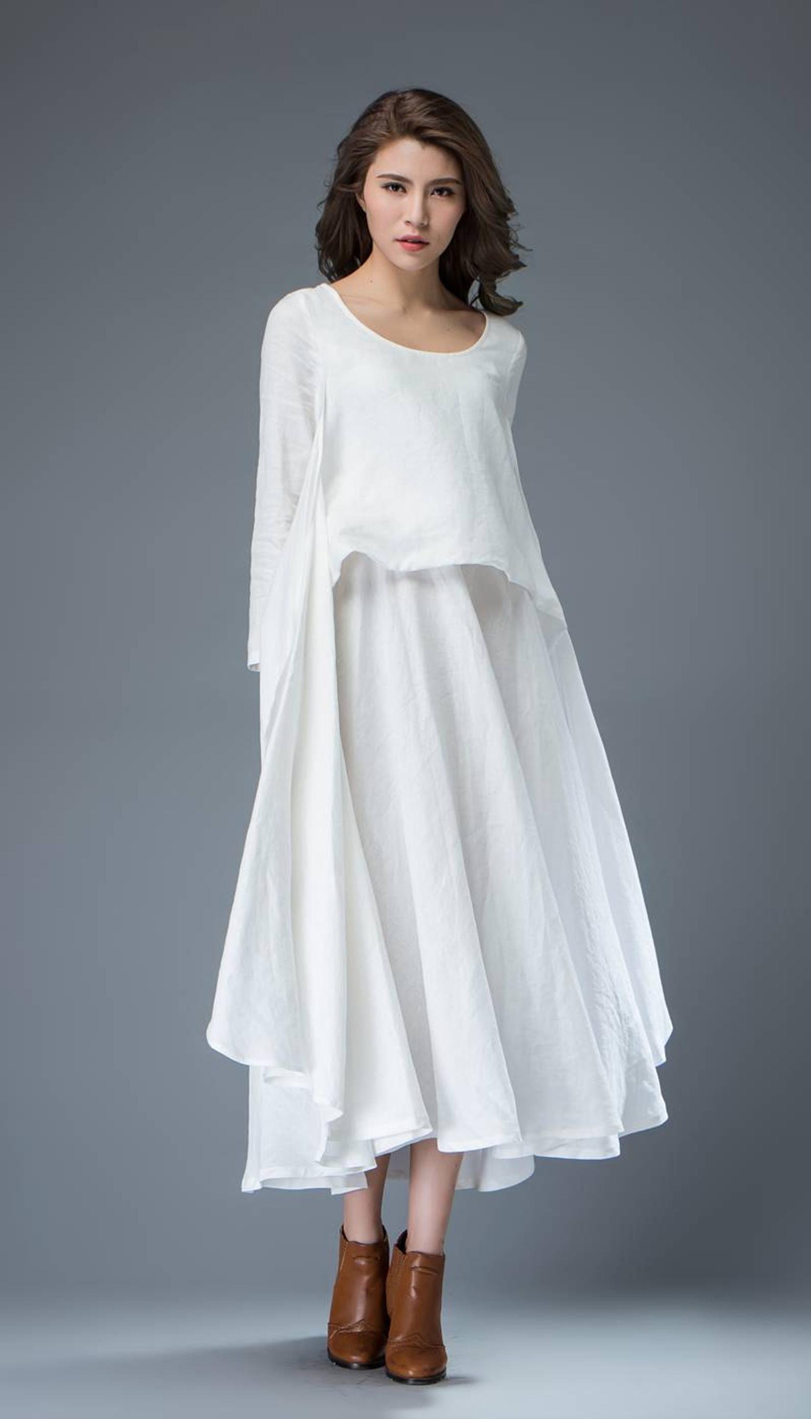 White Linen Dress Long Sleeve Dress Linen Dress Womens Etsy Gaun Linen Model Pakaian Model Pakaian Hijab [ 2779 x 1588 Pixel ]