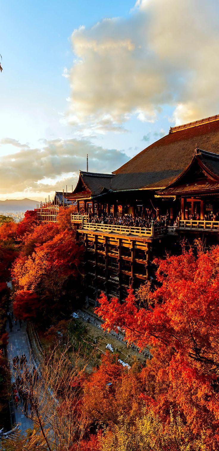 Kiyomizu temple in Kyoto in Autumn leaves season.