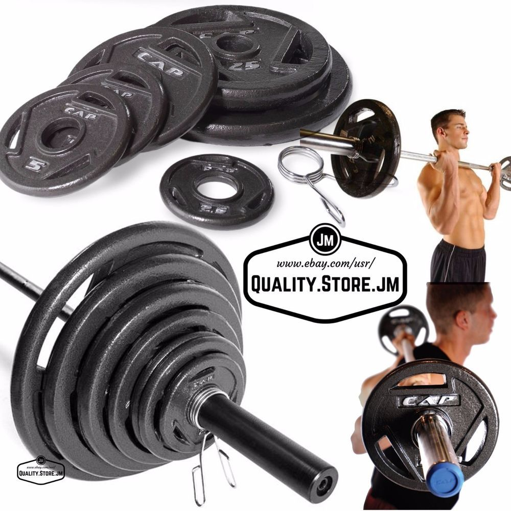 300 Lb Olympic Weight Set 7 Foot Bar With Plates Lifting Equipment Home Gym Grip