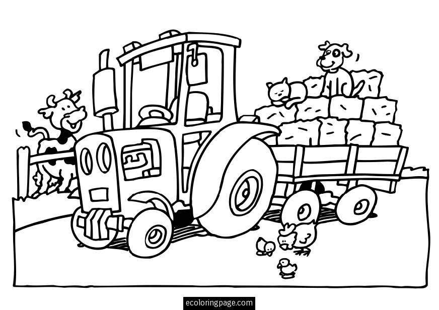 tractor and trailer toy coloring pages