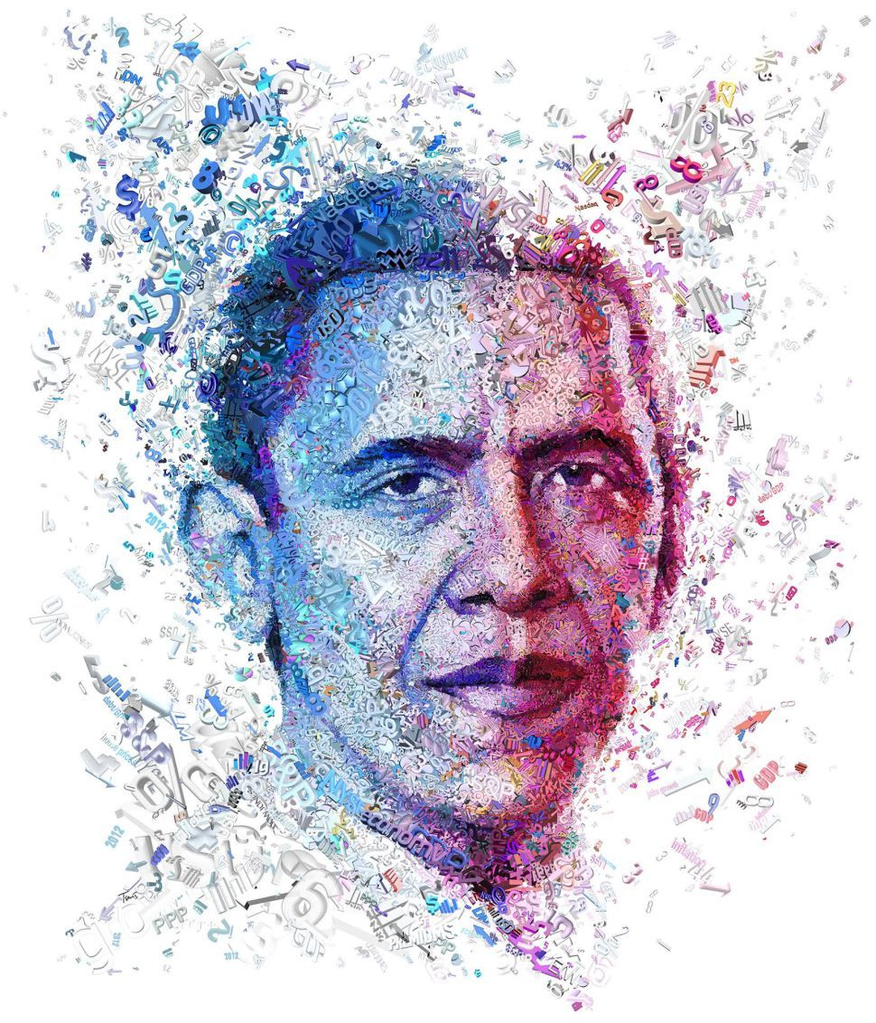 Figurative Art: Here's a Portrait of President Obama Using Numbers |  | Observer