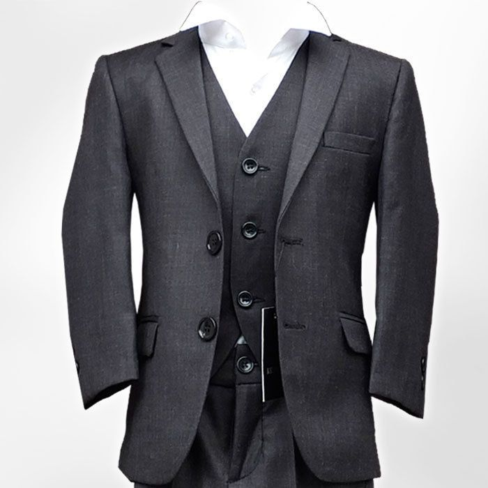 Boys Formal Charcoal Grey Suit Italian Wedding Prom Page Boy Dark Grey Suit