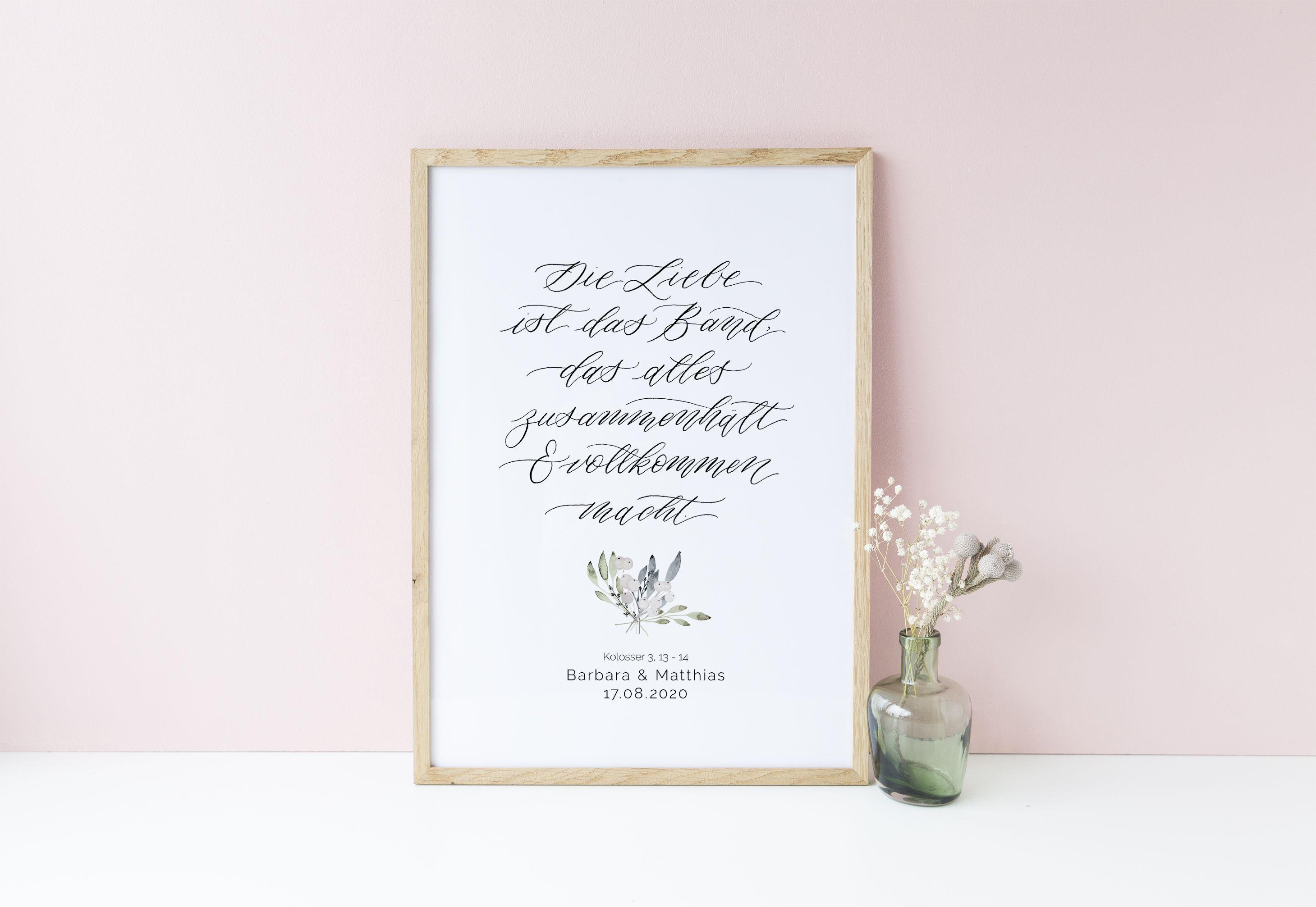 Poster Hochzeit Personalisiert Die Liebe Ist Das Band Kolosserbrief Hochzeitsdekoration Geschenk Hochzeit Hochzeitsgeschenk Trauspruch Hochzeit