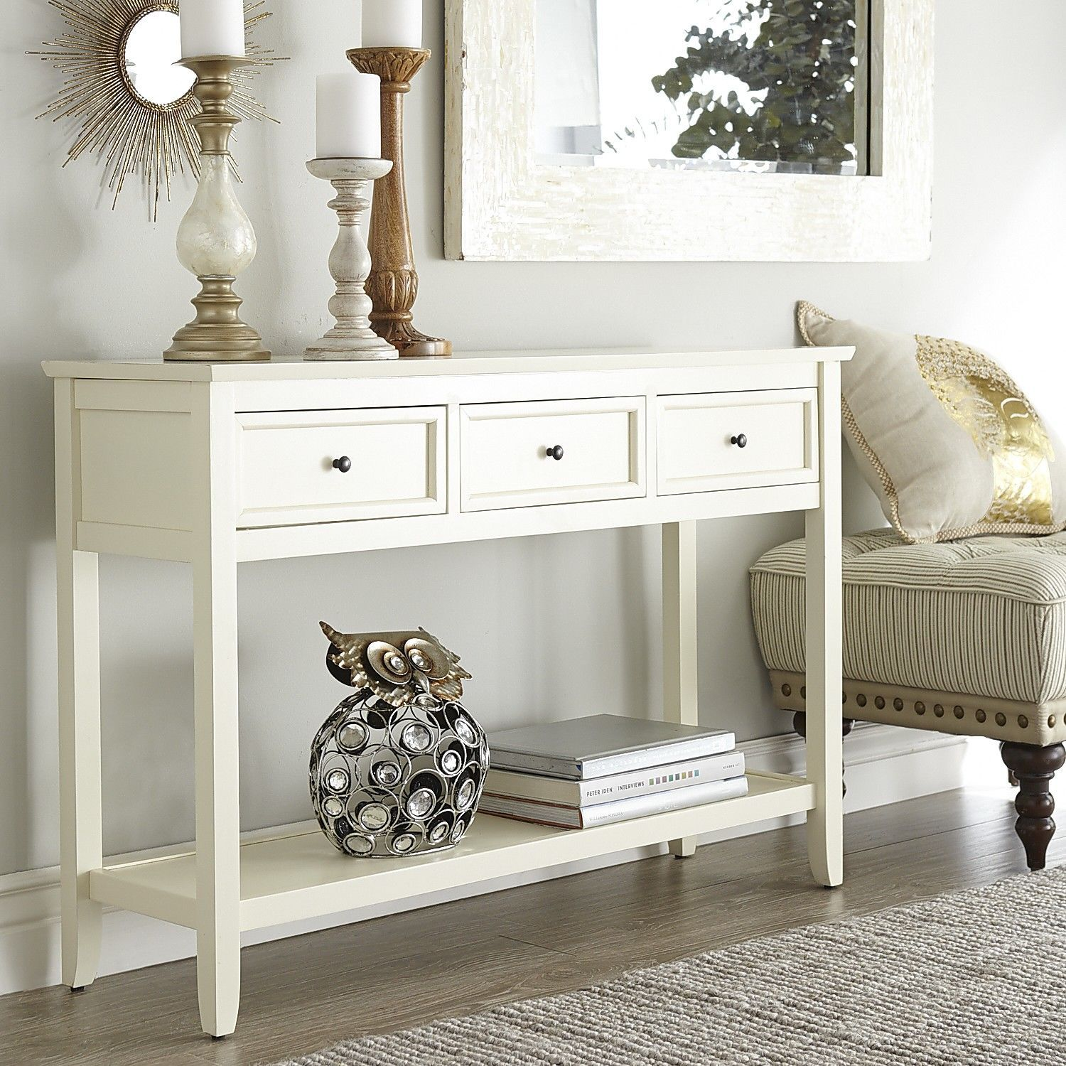 Corner Antique White Console Table Ideas In 2020 White Console Table Entryway Table Decor White Sofa Table