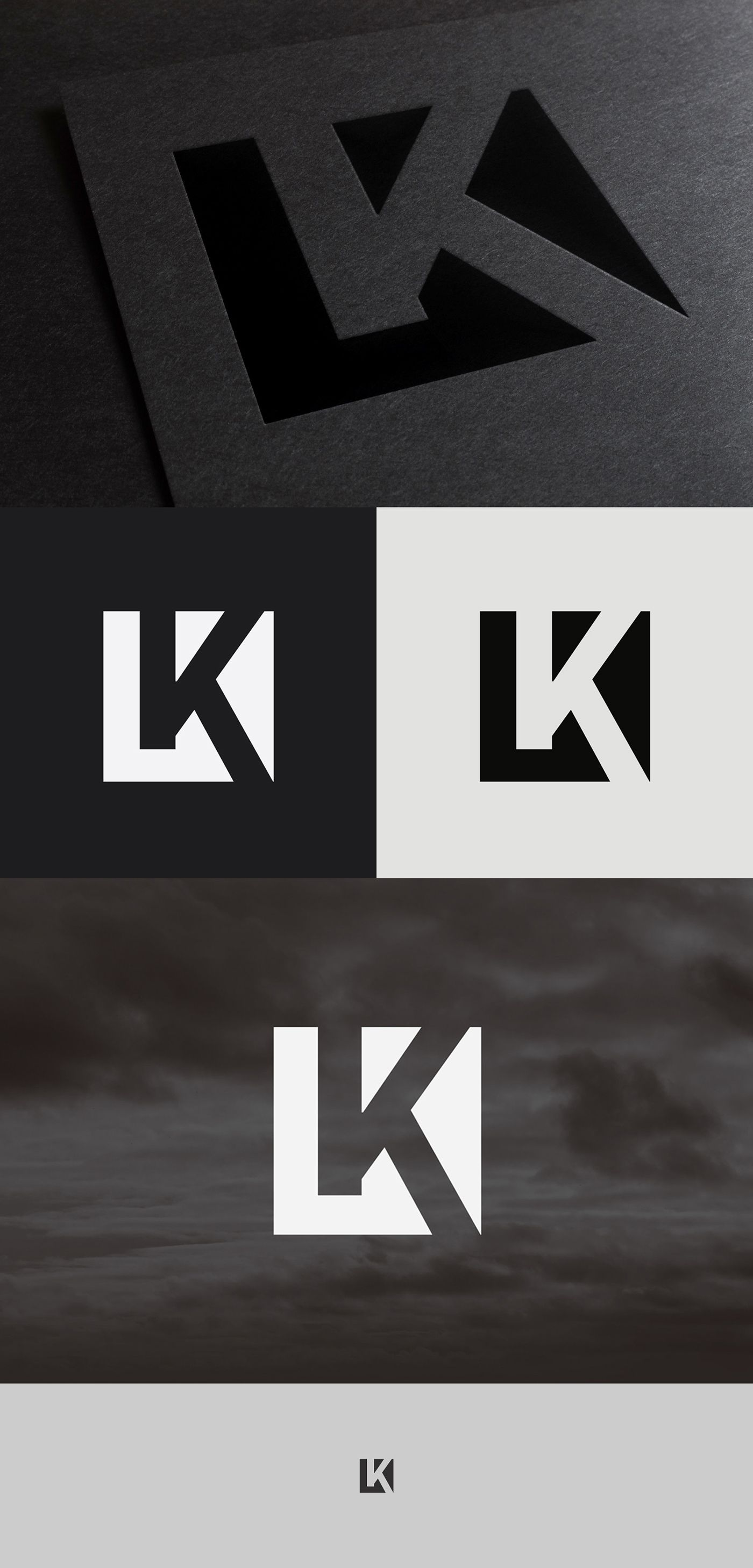 Negative Space LK Logo Icon. LogoDesign NegativeSpace