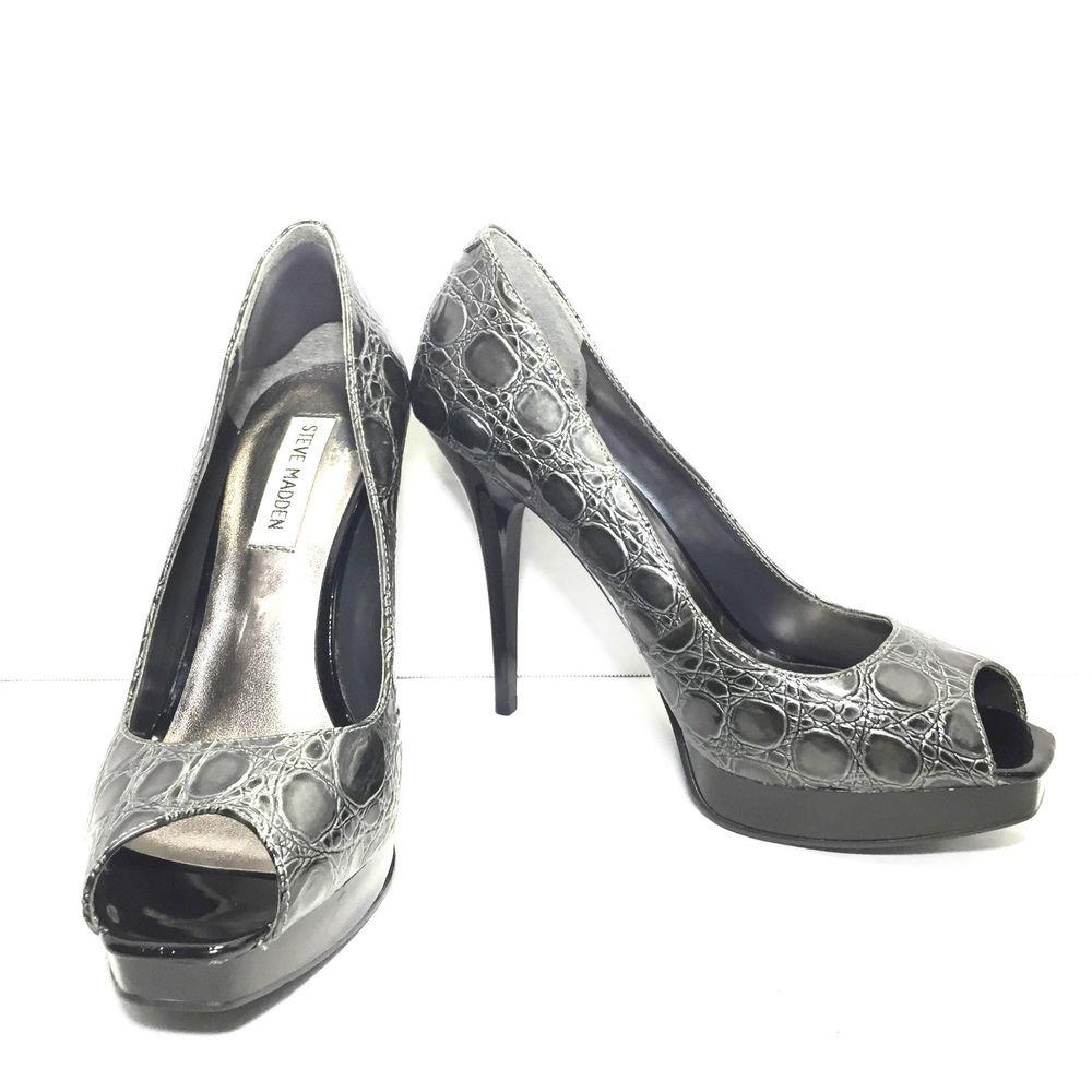 154be1d8e09de Women's STEVE MADDEN Gray Croc Print Peep Toe High Heel Pumps Size ...