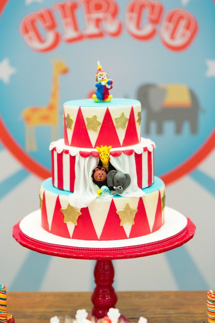 Circus Themed Birthday Party With Images Circus Birthday Cake