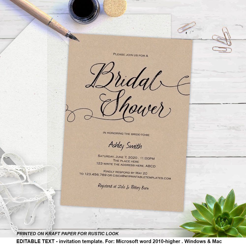 printable rustic bridal shower invitations instant download