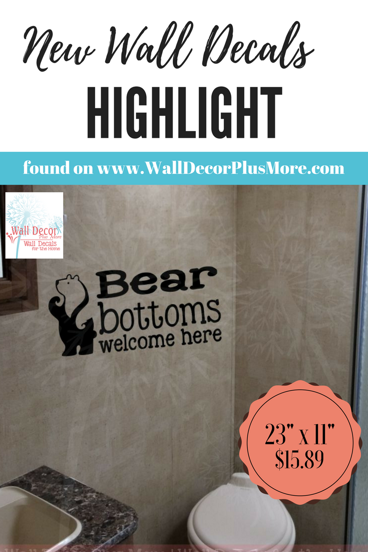 Bear bottoms welcome bathroom decal sticker rv camper bathroom decor perfect for traveling