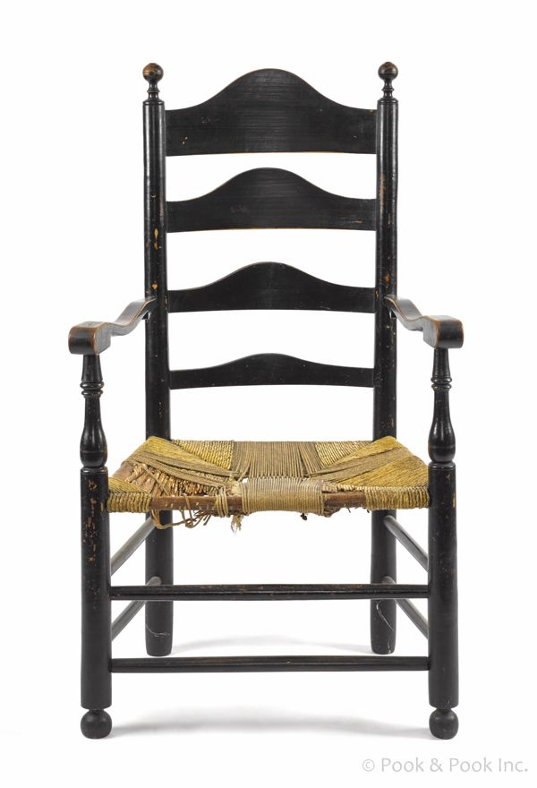 Delaware Valley Ladderback Armchair, Late 18th C.