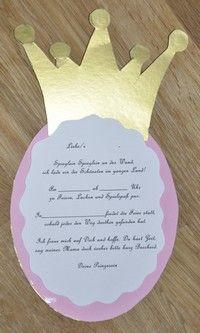 prinzessin einladung als krone. | kindergeburtstag | pinterest, Einladung