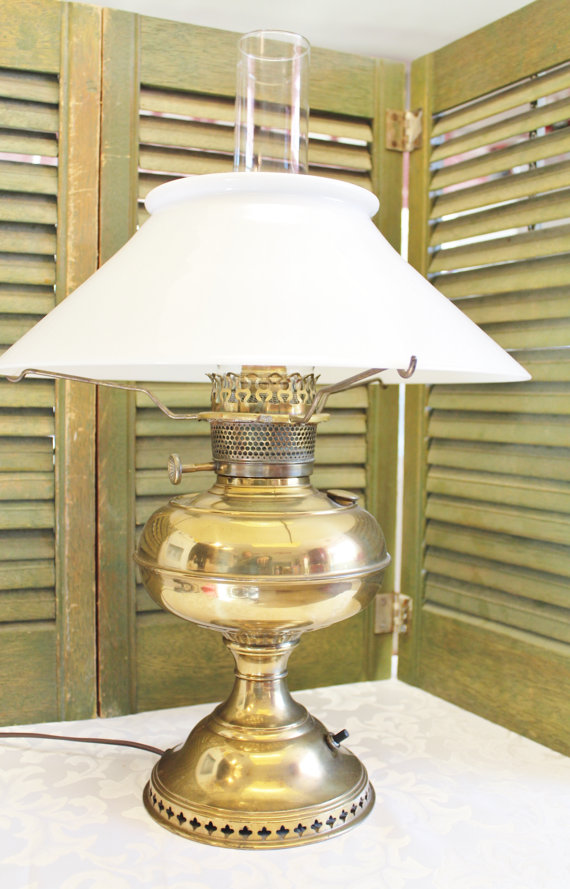 Aladdin Mantle Lamp Brass Oil Lamp Converted By Losttreasures2u