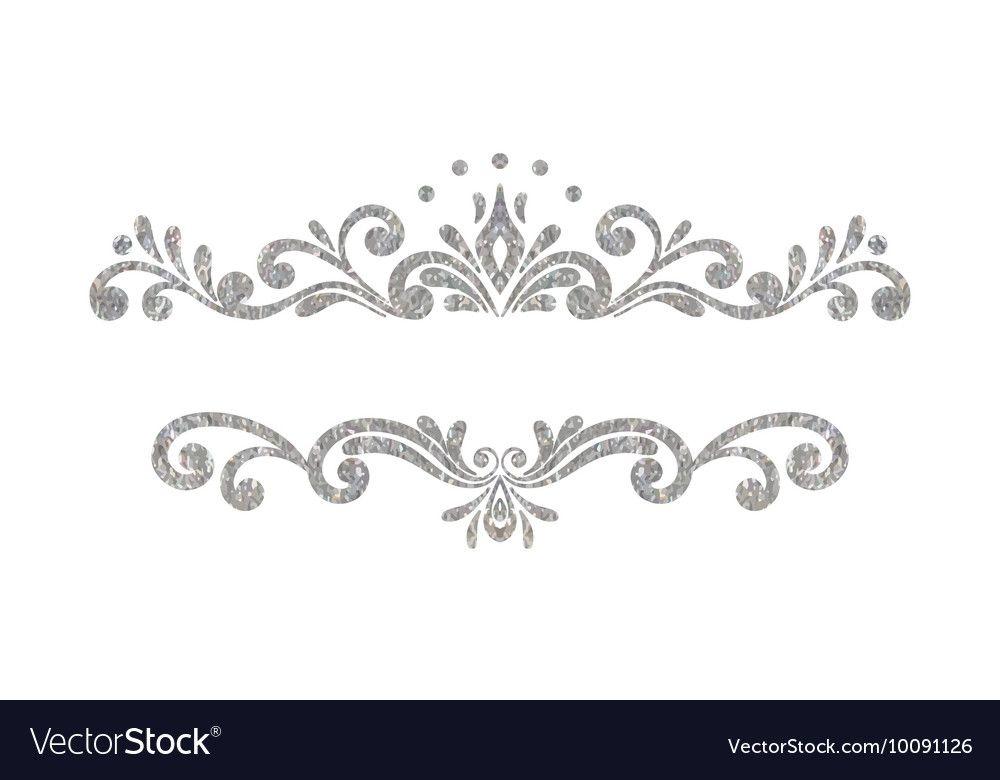 Elegant Luxury Vintage Silver Floral Border Vector Image On Vectorstock Luxury Vintage Silhouette Cameo Crafts Floral Border