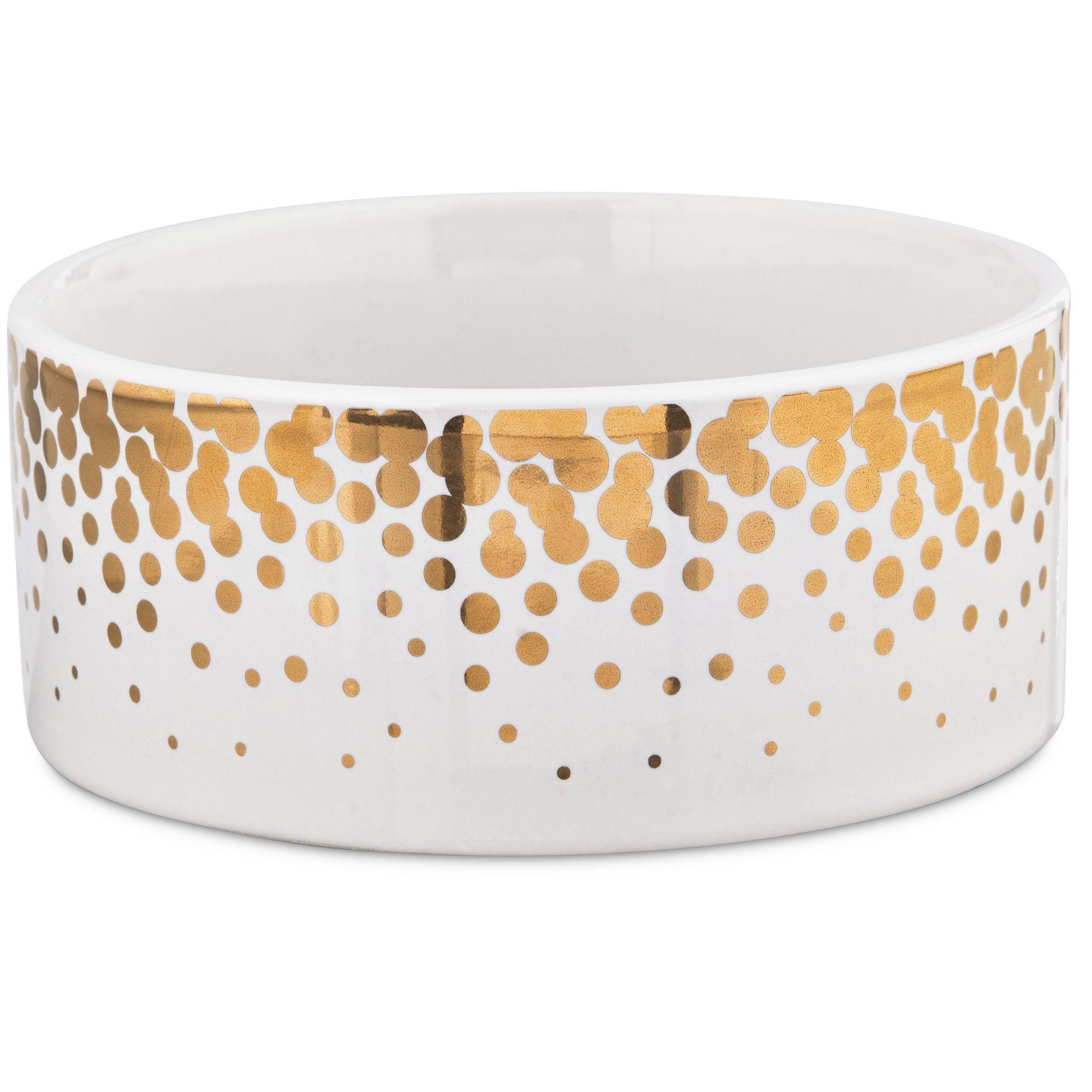 Harmony Gold Dots Ceramic Dog Bowl 1 Cup Ceramic Dog