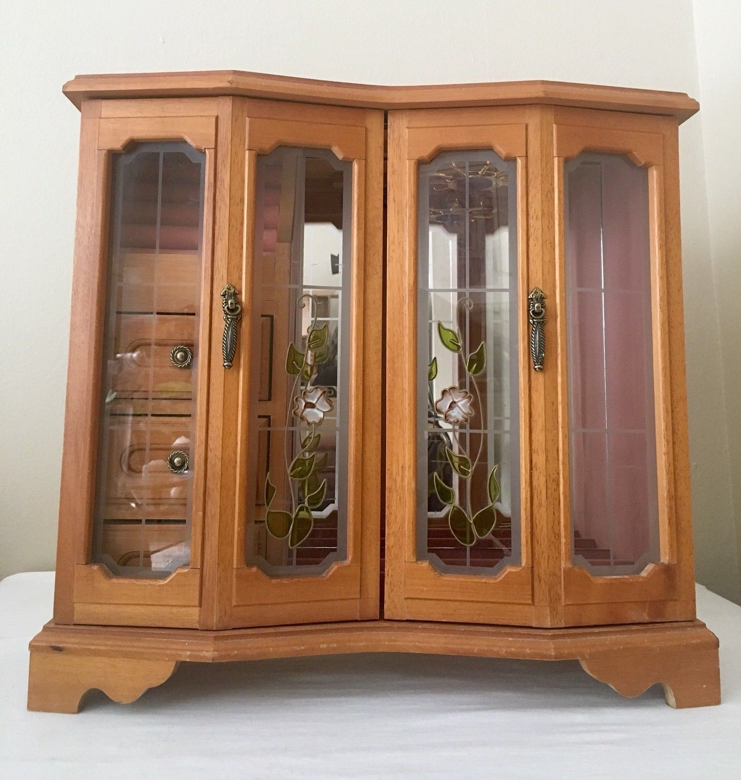 Mele Vintage Jewelry Box Oak Wood Etched Glass Mirrored Upright