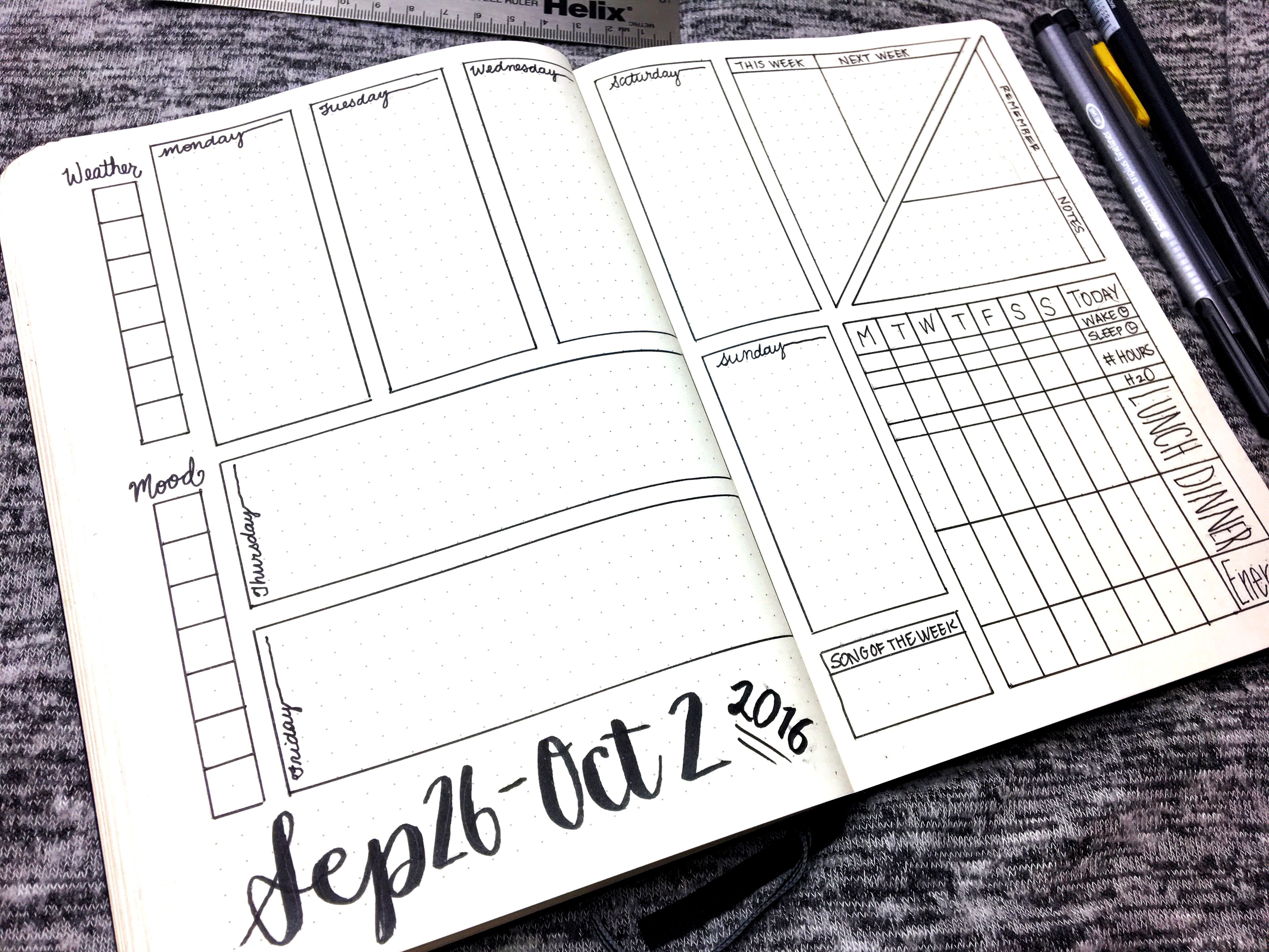 Bullet Journal Weekly Layout September 26 October 2 2016