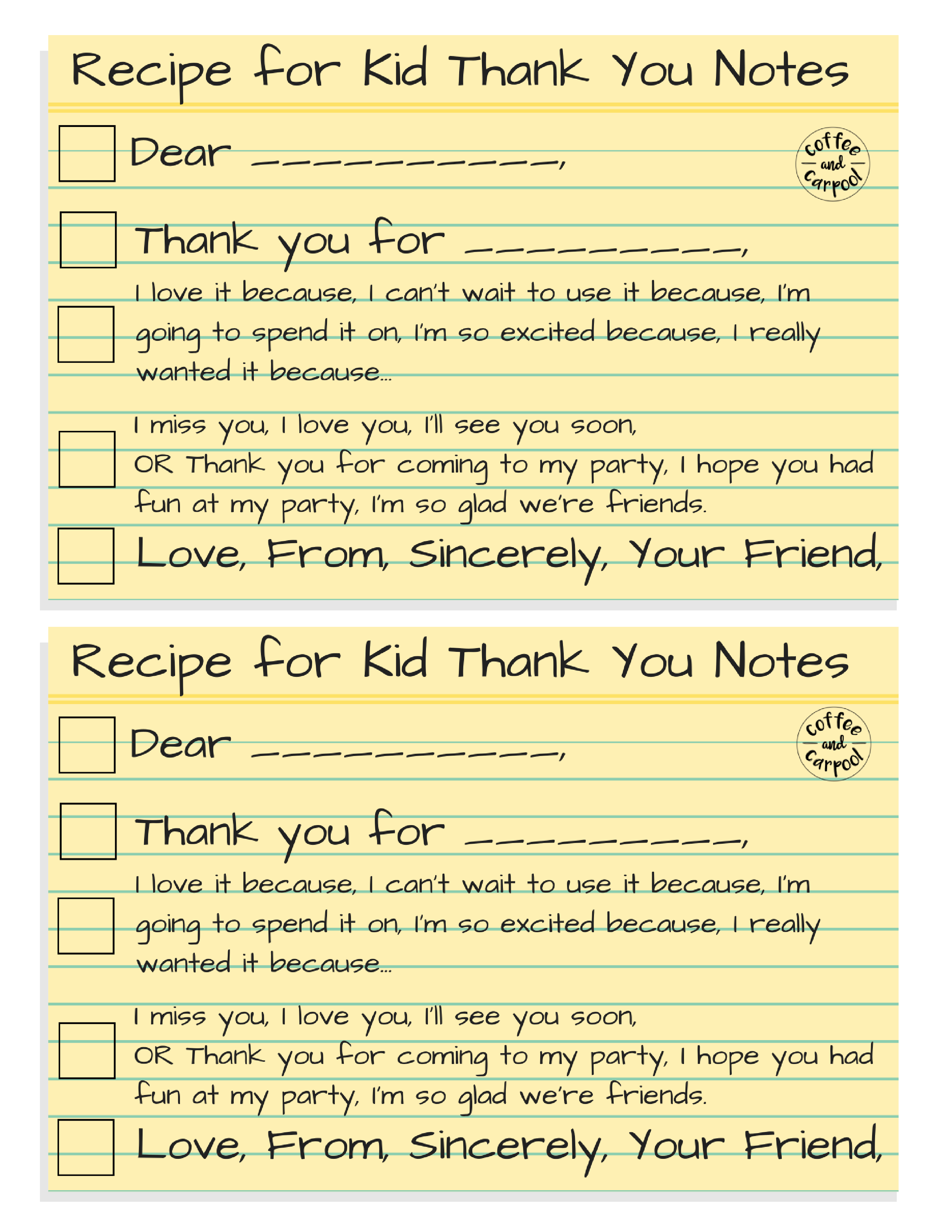 write a thoughtful note