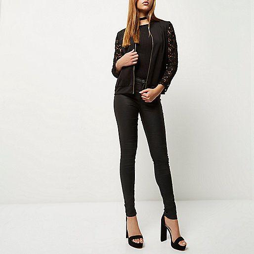 Black lace sleeve bomber jacket - bomber jackets - coats / jackets - women