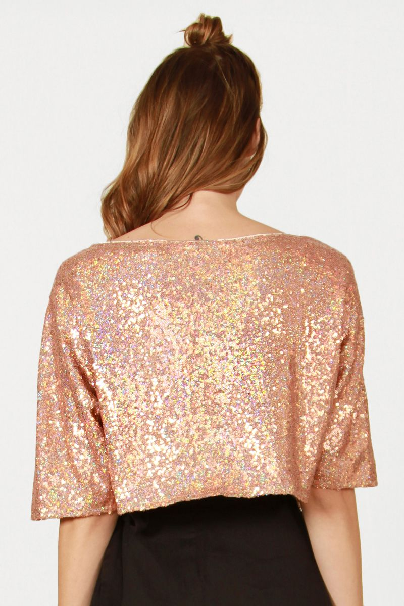 3f6c396a31d8d9 Risqué Boutique - Copper Sequin Crop Top