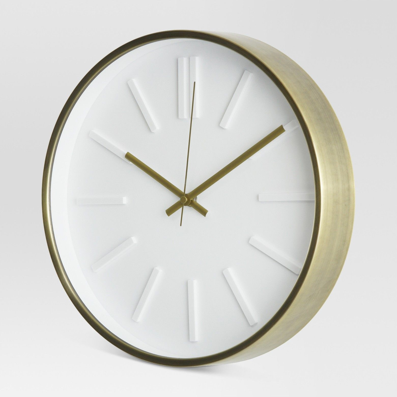 Raised Marker 13 Wall Clock White Brass Project 62 Target Wall Clock Small Wall Clock White Wall Clocks