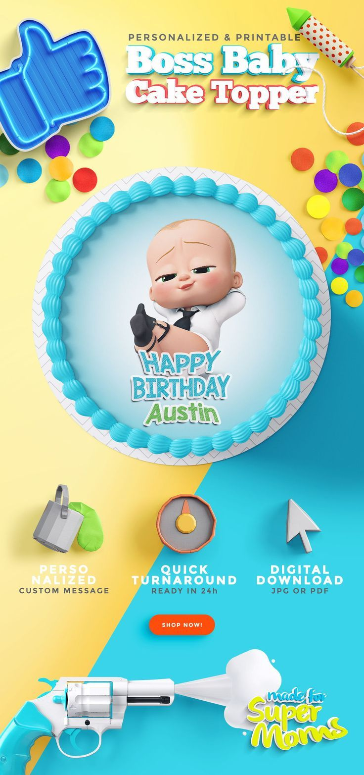 Boss baby edible cake toppers boss baby baby cake