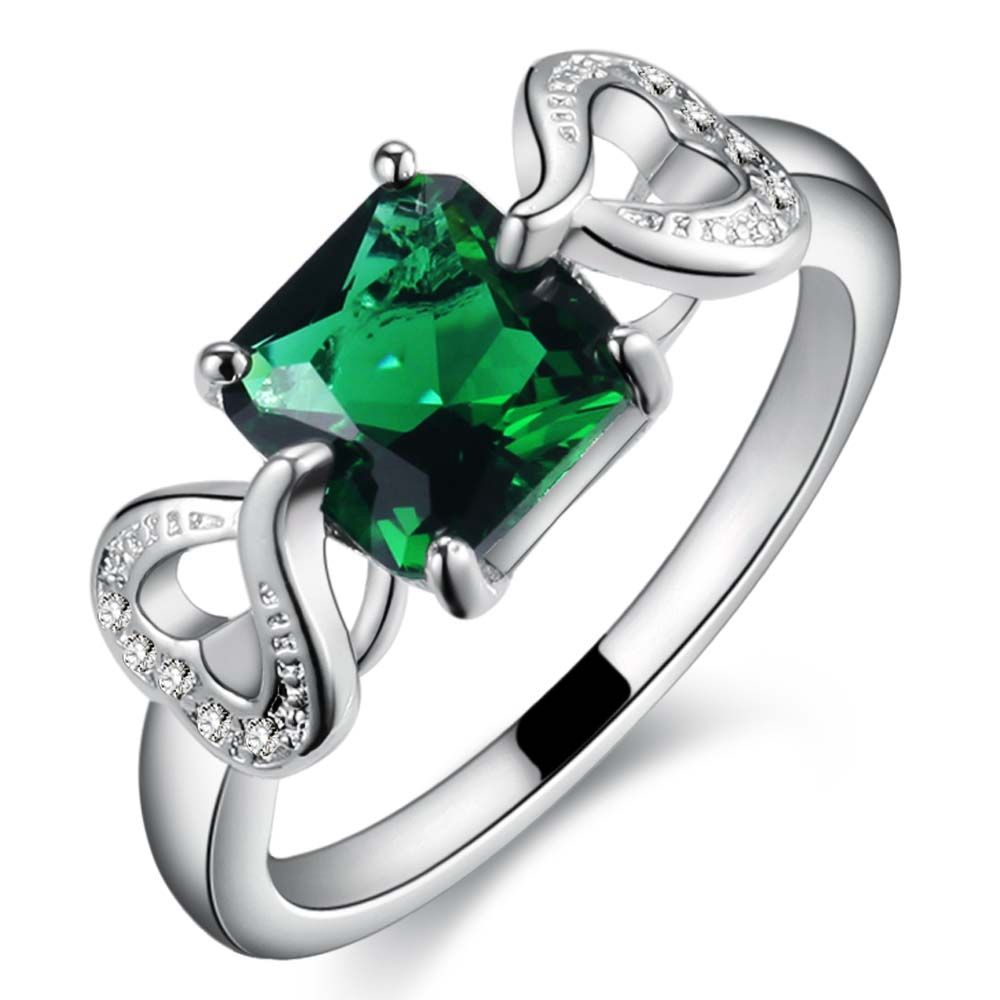 square green zircon love heart  Silver plated ring, silver fashion jewelry ring For Women&Men , /QDEQCYQD JFOCXWCL #Affiliate
