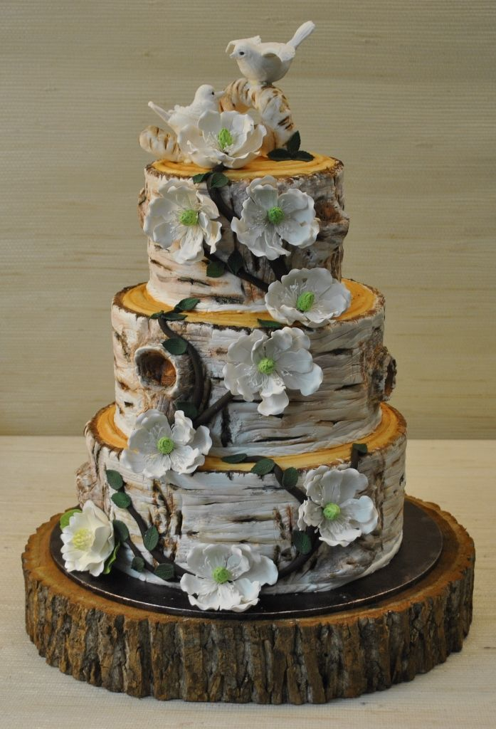 birch trees and flowers for wedding cakes wedding cake to