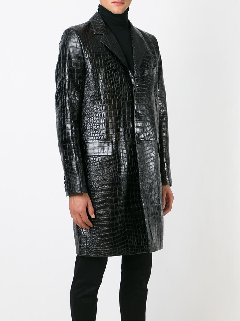 2ef17238f770 Saint laurent Crocodile Embossed Coat in Black for Men