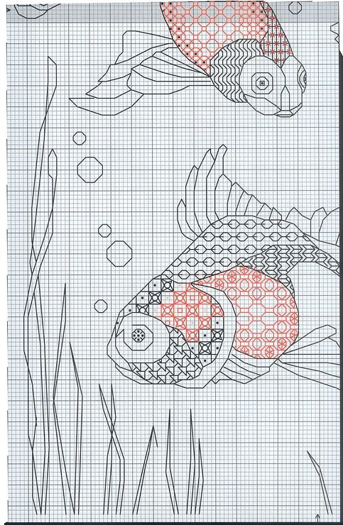 blackwork goldfish | Cross stitch | Pinterest | Die besten Ideen zu ...