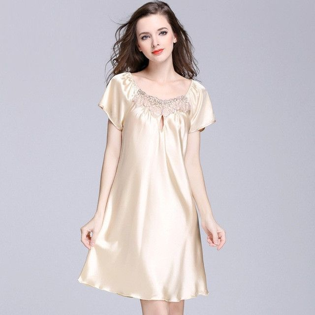 Silky Women Nightgowns Summer Faux Silk Ladies Sleep Lounge For Home ...
