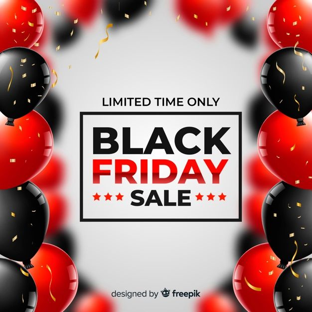 Free Black friday sale realistic balloons background SVG DXF EPS PNG