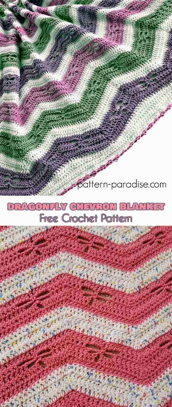 Dragonfly Chevron Blanket Free Pattern | Pinterest | Applikationen ...