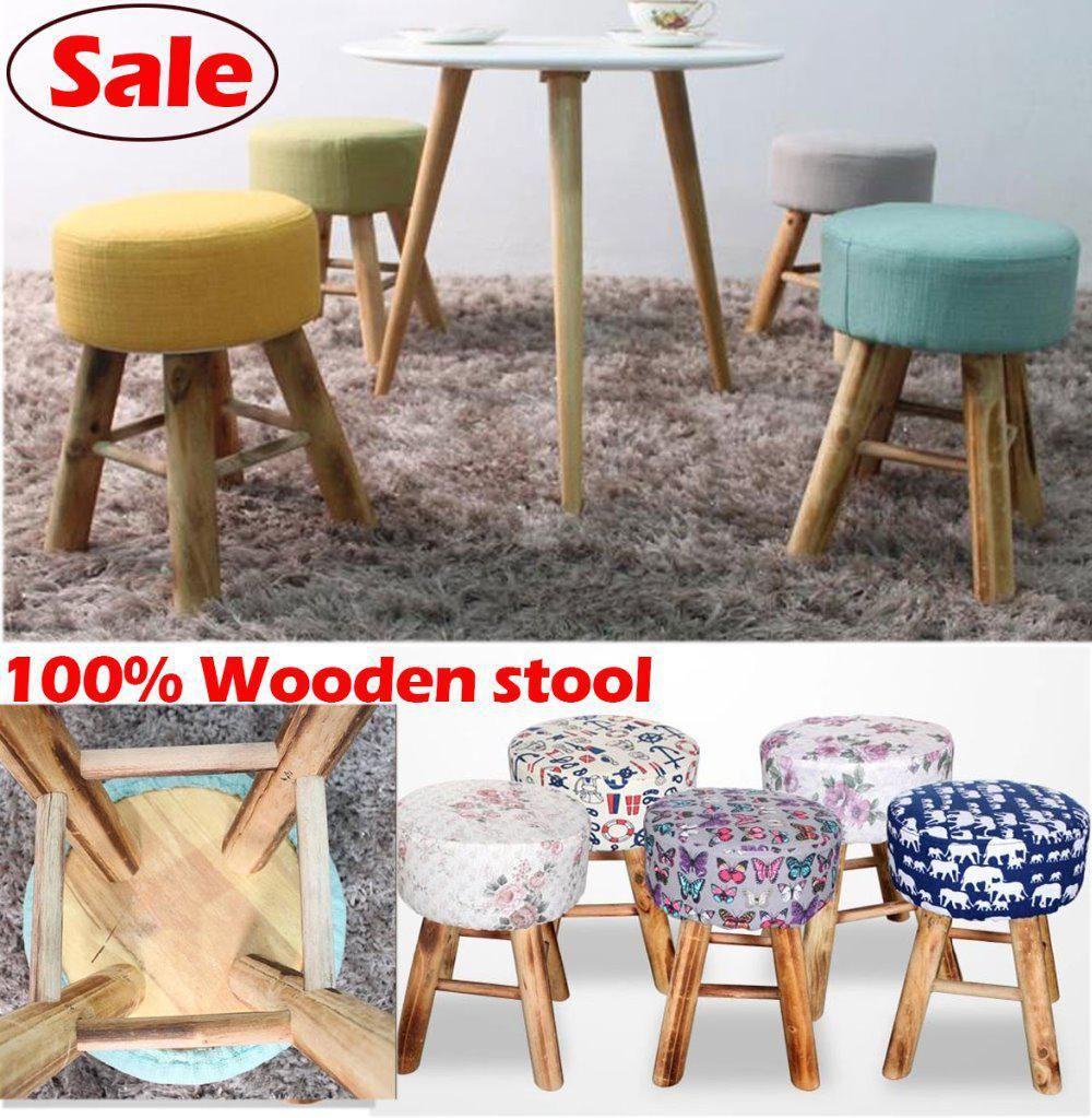 Wholesale wood bar stoolcottonwooden furniture waiting stool