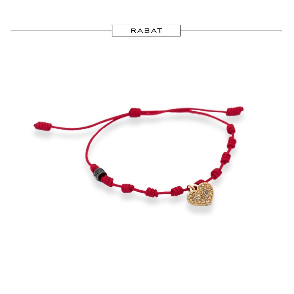 Pulsera de hilo rojo con charm corazón de oro rosa y pavé de ...